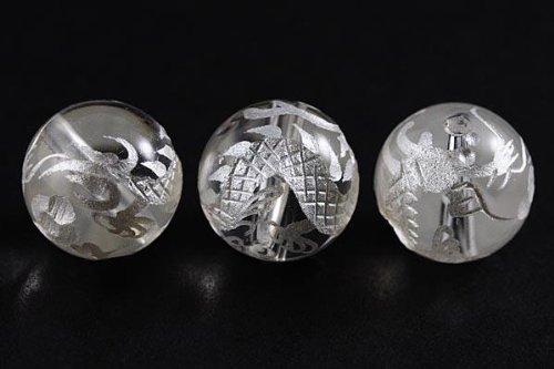 【石流通センター】【彫刻ビーズ】水晶 12mm (白彫り) 白龍 (五爪龍) 天然石 パワーストーン