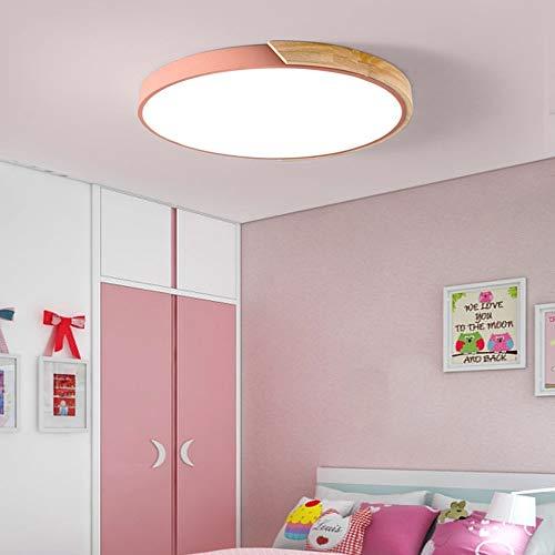 Hancoc Techo de madera acrílica de tipo macarón, ultrafino, chip LED, circular inteligente, para sala de estar, dormitorio, hogar, 30 x 5 cm (color: blanco)