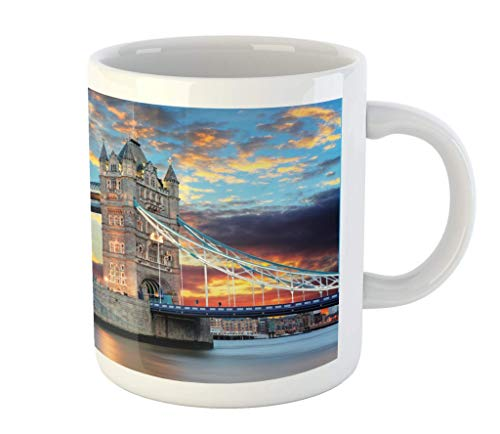 N\A Taza de Londres, Vista del Puente de la Torre en la Puesta de Sol Espectacular río Támesis con Las Nubes Grises, cerámica Taza Copa de Agua de té, Bebidas, 11 oz Azul Amarillo