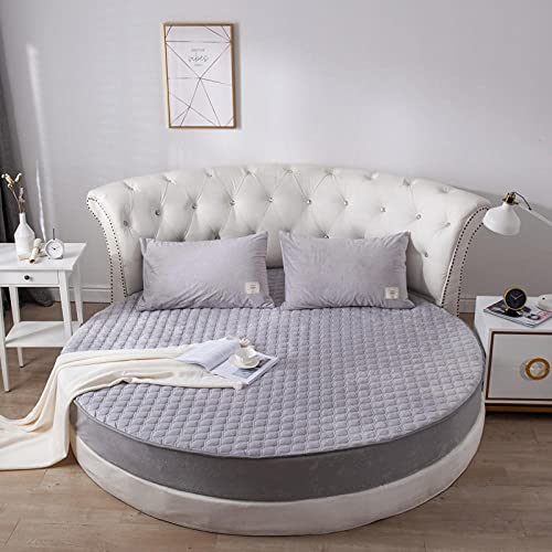 DSman Bed Sheets Polyester Cotton Blend Soft and Autumn and winter plus velvet round bed skirt-silver quilted thickening_2m
