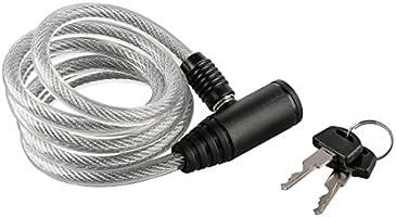 Ultrasport Candado en espiral para bicicleta con 2 llaves, candado de cable en espiral, 150 cm de largo, ideal para...