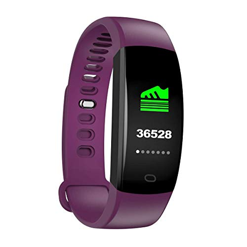 WitMoving Fitness Tracker IP68 Waterproof Activity Tracker Slim Fitness Watch with Calorie and Step Counter Pedometer Watch for Kids Women Men (Purple)