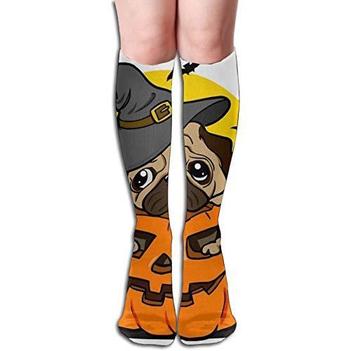 Calcetines largos de algodón a rayas para mujer con estampado de rayas multicolor para Halloween