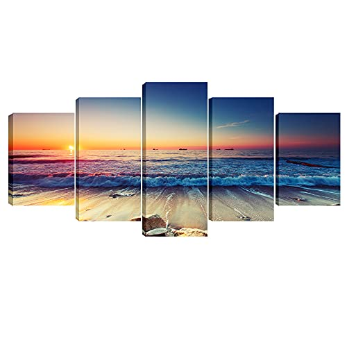 Pyradecor 5 Piece Extra Large Modern Seascape Artwork Gallery Wrapped Ocean Sea Beach Pictures Canvas Prints Waves Paintings on Canvas Wall Art for Living Room Bedroom Home Decorations XL