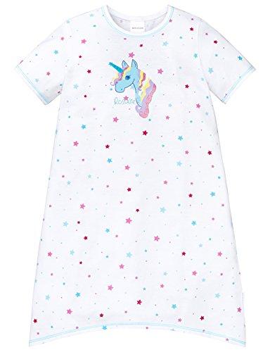 Schiesser Nachthemd 1/2 Maglia Lunga da Notte, Bianco, 92 cm Bambina