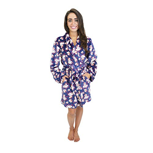 Cherokee Women's Polyester Plush Shawl Collar Bathrobe Sleepwear, Water Color Floral, X-Large