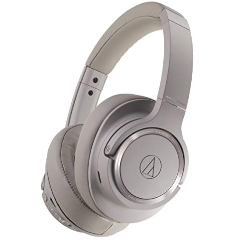 Audio Technica ATH-SR50BTBW Sound Reality Bluetooth Wireless Over-Ear Headphones High-Resolution Audio Foldable with Microphone includes Travel Pouch (Brown/Gray)