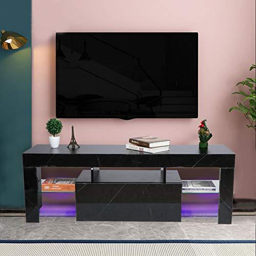 Wakects TV-kast voor woonkamer, tv-kast met led, lang, zwart, 130 x 35 x 45 cm (EU)