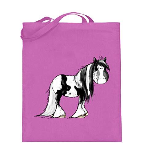 Drolliger Schecke - Bolsa de yute con asas largas, diseño de caballo, rosa, 38cm-42cm