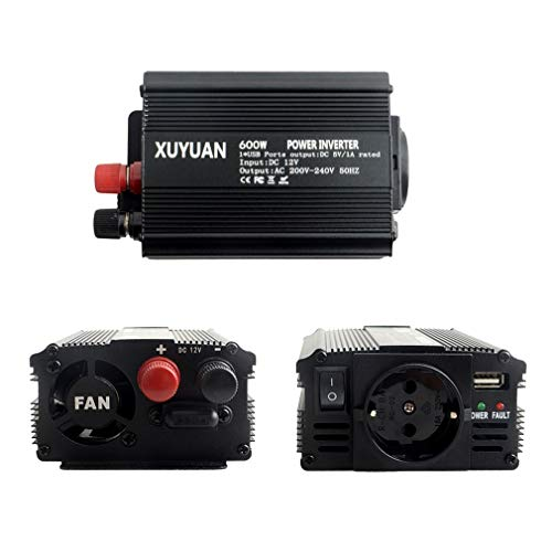 Yeliu XUYUAN 600W Wechselrichter DC 12V zu AC 220V Autokonverter für Haushaltsgeräte Schwarz