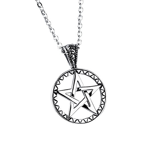 HIJONES Herren Pentagram Keltische Pentacle Edelstahl Anhänger Halskette mit 20