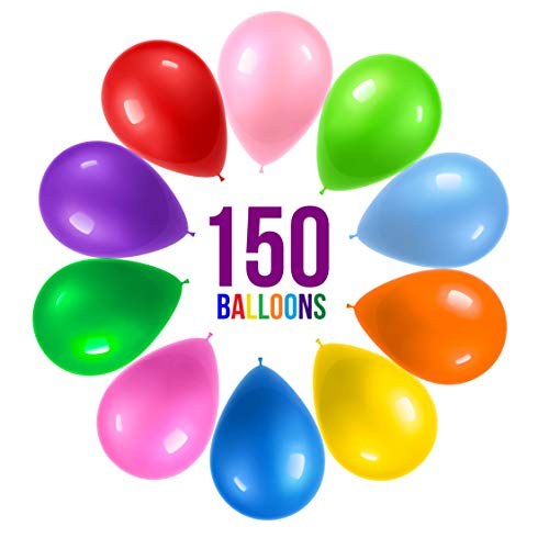 Prextex 150 Party Balloons 12 Inch 10 Assorted Rainbow...