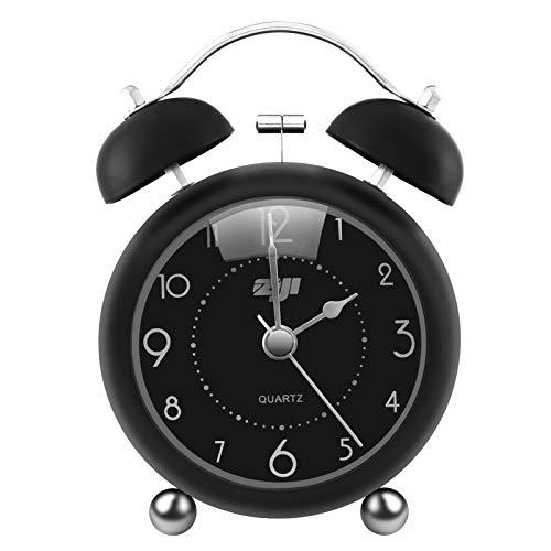 ZOJI Retro Doppelglockenwecker ohne Ticken,3,34 Zoll runde Konvexe Nachtwecker Mini Uhr mit Nachtlicht Große Digitalanzeige für Schlafzimmer Büro lauter Alarm Kinder Wecker (Alles schwarz)