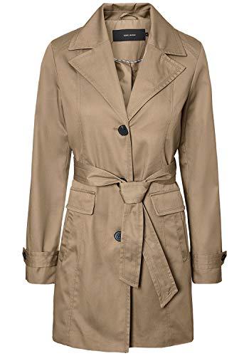 VERO MODA Tracey Damen Trenchcoat Mantel Übergangsjacke mit Reverskragen und Gürtel, Größe:XL, Farbe:Silver Mink