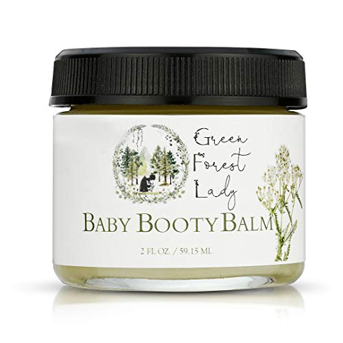 Green Forest Lady Organic Baby Booty Balm Natural Diaper Balm, Herbal Infused Diaper Rash Cream, Petroleum Free, Cloth Diaper Safe, Protects Baby's Sensitive Skin, Soothes Irritation from Diaper Rash