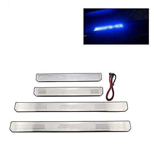 Listones de umbral, embellecedores para puertas, de acero inoxidable, tiras con borde y relieve, con luz LED (4 unidades)