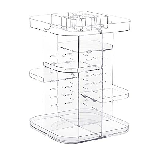Feibrand 360 Grad Drehbar Make up Organizer, Acryl Verstellbar Multifunktions Kosmetik Aufbewahrungsbox Display Ständer für Schlafzimmer, Dresser, Badezimmer - Klar