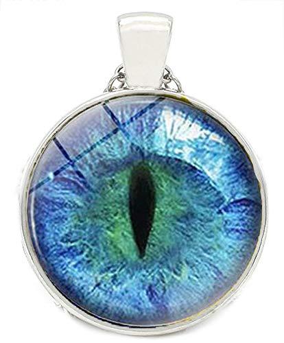 Merchandise for Fans Kette fluoreszierend/nachtleuchtend mit Cabochon 25mm Motiv: Auge/Drachenauge Pupille Iris türkis - 03