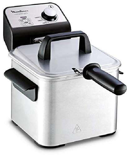 Moulinex Compact Pro AM322070 - Freidora Clásica, 2 Niveles de Cocción, Termostato Regulable, 2 L / 600 g, 1700 W, Plástico, Acero Inoxidable, Incluye Rejilla para Frituras de Fácil Limpieza