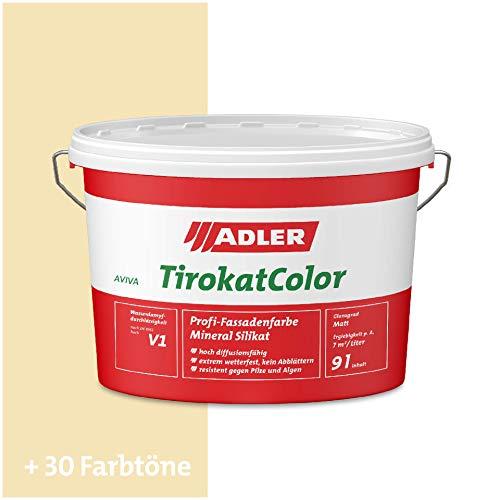 ADLER AVIVA Tirokat-Color - 9 Liter - B 01/4 Creme - Wetterbeständige, mineralische Fassadenfarbe auf Wasserbasis. Hochwertige Silikatfarbe für außen