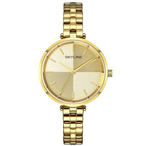 SKYLINE, Reloj de Pulsera para Mujer, Acero Inoxidable,...