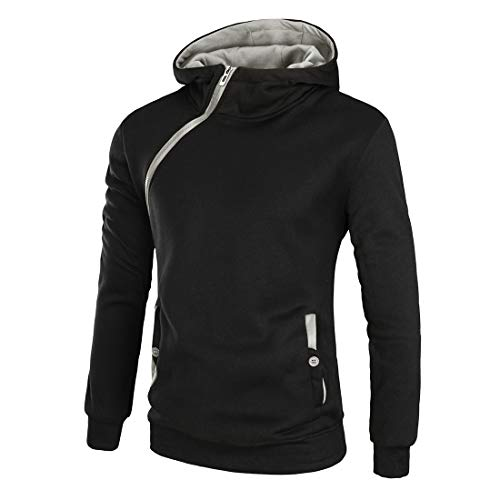 FULUN Men's Long Sleeve Hooded Hoodie Zipper Up Sweatshirt Pullover with Pockets Mens Casual Warm Cotton Linen Slim Fit Sportswear Tops Sweater Coat Jacket for Gym Fitness Running Autumn Winter Black
