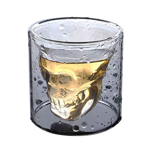 HwaGui Cristal Transparent Tasse Double Paroi Verre à Whisky Biere Vin Vodka Forme de Crâne Verre 100ml / 3.5oz