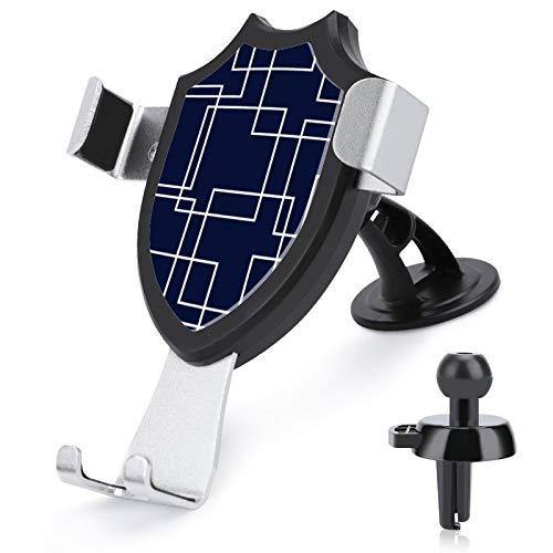 Soporte para teléfono de coche con manos libres, diseño geométrico moderno azul marino y blanco, compatible con iPhone 12/12 Pro/11 Pro Max/8 Plus y más teléfonos móviles de 4 a 6 pulgadas