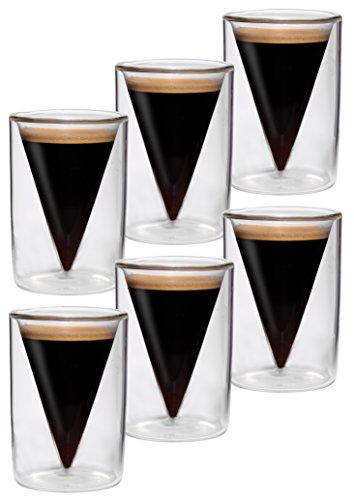 6er-Set 65ml doppelwandige Espresso- und Schnapsgläser im Spitzglasdesign mit Schwebe-Effekt, ideal für Espresso, Schnaps, Likör und Grappa, Spikey von Feelino