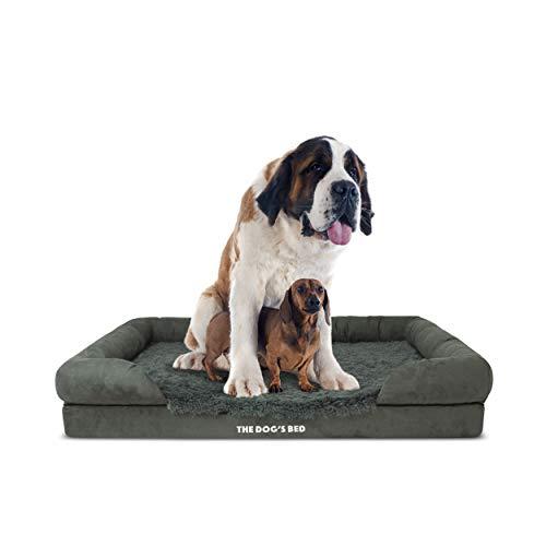 The Dog's Bed Orthopädisches Hundebett XXL Grau Kunstfell Wasserdicht Memory Foam Hundebett