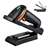Tera 2D Barcode Scanner with Adjustable Folding Stand and Charging Cradle, Wall Mountable 2.4G Wireless & USB 2.0 Wired QR Bar Code Reader with Vibration Alert