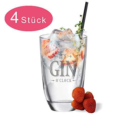 van Hoogen 4 x Gin Gläser mit Spruch It´s Gin o´Clock | Geschenk Graviertes Gin-Cocktail-Glas | 4er Set