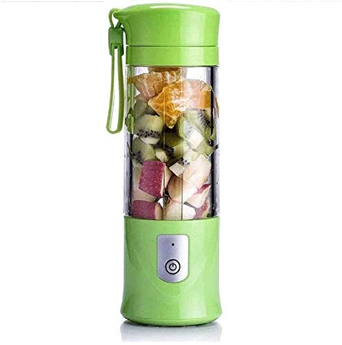 Portable Juicer Blender, Household Fruit Mixer380ml Fruit Mixing Machine with USB Charger Cable for Superb Mixing, USB Juicer Cup(Red, Pink, Green (Color : Green)