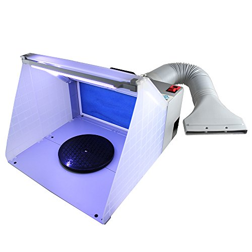 OPHIR Portable Hobby Airbrush Spray Booth Exhaust Filter Extractor Set with LED Light and Turntable Stand for Art Craft Model Cake Nails T-Shirts 5.6 Feet Extension Hose