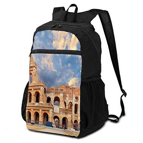 Bingyingne Zaino da viaggio pieghevole Foldable Backpack for Boys Famous Colosseum in Rome Italy Travel Backpack Foldable Daypack Hiking Backpack Lightweight travel Camping