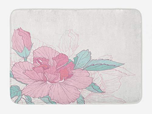 ABAKUHAUS Flor Tapete para Baño, Exótico en Colores Pastel Florecimiento, Decorativo de Felpa Estampada con Dorso Antideslizante, 45 cm x 75 cm, Azul Claro y Rosa pálido