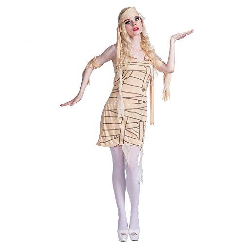 EraSpooky Disfraz de Momia para Mujer Vestido de Fantasía Egipcio Cosplay Traje de Fiesta de Halloween para Adulto