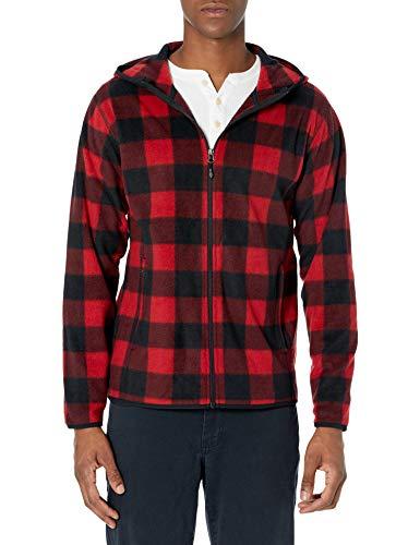 Amazon Essentials Men's Long-sleeve Hooded Full-zip Polar Fleece Jacket, Red Buffalo, X-Large