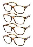 TBOC Gafas de Lectura Presbicia Vista Cansada - [Pack 4 Unidades] Graduadas +3.50 Dioptrías Montura de Pasta [Marrón Carey] de Diseño Moda para Hombre Mujer Unisex Lentes de Aumento Leer Ver de Cerca