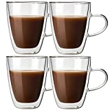 Glass Double Wall Insulated Coffee Mug, [10oz, Set of 4] Clear Drinkware Cups with Handle, Latte Cappuccino Espresso Tea