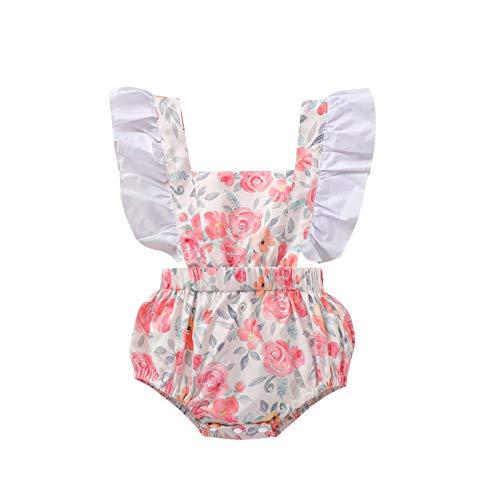 I3CKIZCE Body de bebé de 0 a 24 meses sin mangas con encaje estampado floral moderno dulce casual Rosa 0-6 Meses