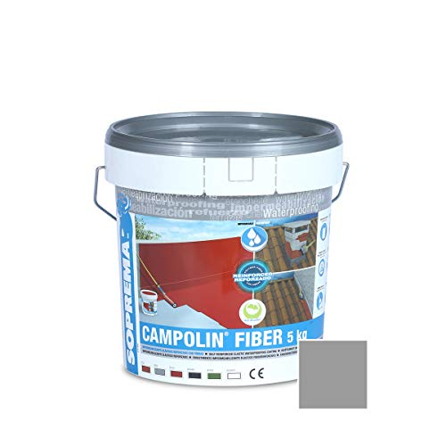 SOPREMA CAMPOLIN FIBER 5 KG GRIS Impermeabilizante de Caucho acrílico Armado con Fibras