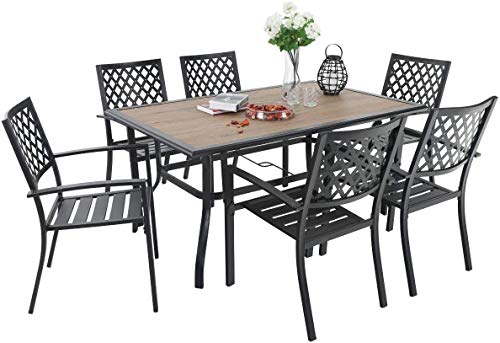 """PHI VILLA 7-Piece Metal Outdoor Patio Furniture 37.4"""" x 59.8"""" Wood Like Rectangular Dining Table and Chairs Set for Ourdoor Backyard Lawn Garden, Black"""