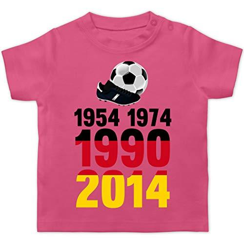 Fußball-Europameisterschaft 2020 - Baby - 1954, 1974, 1990, 2014 - WM 2018 Weltmeister Deutschland - 1/3 Monate - Pink - Gewinner - BZ02 - Baby T-Shirt Kurzarm