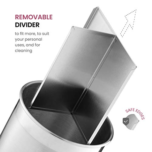 Extra-Large Stainless-Steel Kitchen Utensil Holder - 360° Rotating Utensil Caddy - Weighted Base for Stability - Utensil Crock With Removable Divider for Easy Cleaning - Countertop Utensil Organizer.