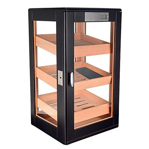 FxsD Gabinete de puros, madera de cedro ventana de cristal transparente, de 3 capas parrilla del cajón de almacenamiento, de gran capacidad de cigarros humidificación Vitrina, con higrómetro y humidif