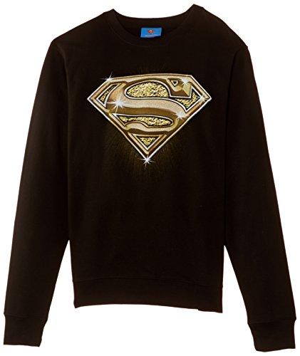 DC Comics Official Superman Bling Logo Womens Sweatshirt Sudadera, Negro, 38 para Mujer