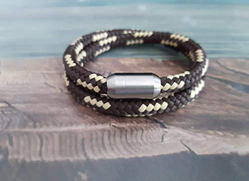 Handmade, Damen, Herren, Armband Edelstahl- Segelseil, Seil Wickel Armband Braun/Beige, Größe frei wählbar