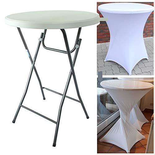 TRUTZHOLM® Stehtisch mit Husse klappbar weiß Ø 80cm / Höhe ca.110 cm Partytisch mit Husse Bistrotisch Klapptisch Biertisch