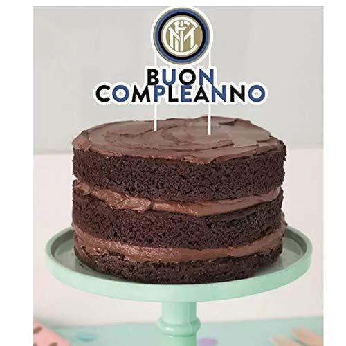 Decorazione per Torta FC Inter Nero Azzurro - Pick Cake Topper Scritta Buon Compleanno della Squadra di Calcio dell'INTER - Ideale Come Decorazione per Torte di Compleanno, Feste e Party